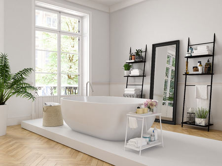 3d rendering. classic luxury bathroom with a white bathtube.