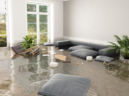 3d rendering. flood in brand new apartment. Archivio Fotografico
