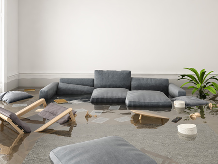 3d rendering. flood in brand new apartment. 스톡 콘텐츠