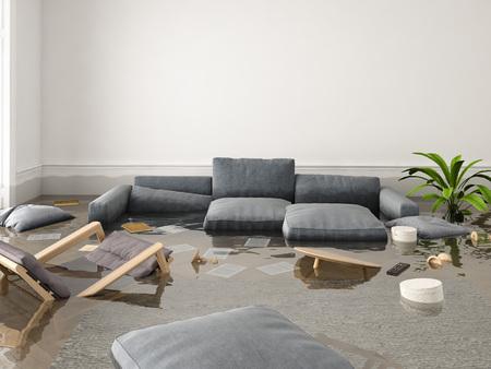 Representación 3D. inundación en apartamento nuevo. Foto de archivo - 84288095