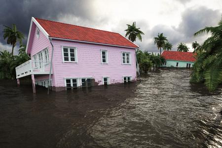 Wiedergabe 3d. Hochwasser Häuser Standard-Bild - 85284439