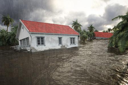 Wiedergabe 3d. Hochwasser Häuser Standard-Bild - 85284389