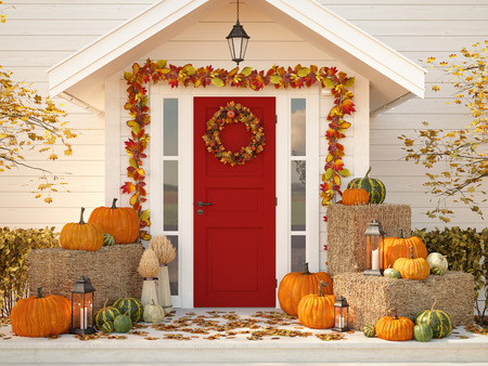 autumn decorated house with pumpkins and hay. 3d rendering Stok Fotoğraf