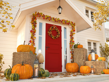 autumn decorated house with pumpkins and hay. 3d rendering Foto de archivo