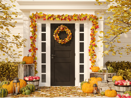 autumn decorated house with pumpkins and hay. 3d rendering Imagens