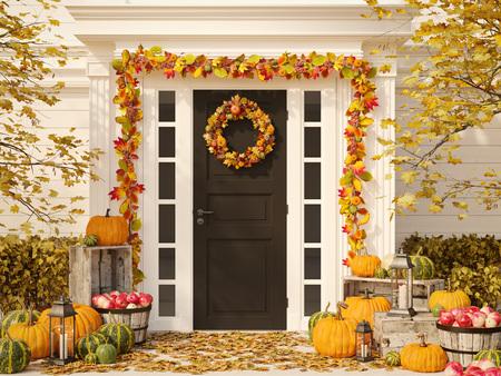 herfst ingericht huis met pompoenen en hooi. 3D-rendering