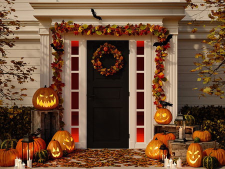 halloween decorated house with pumpkins. 3d rendering Stock fotó