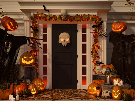 halloween decorated house with pumpkins and skulls. 3d rendering Stok Fotoğraf