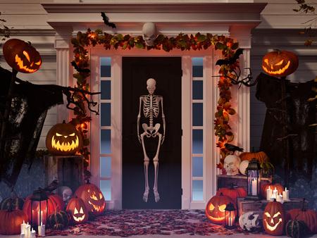 ハロウィーンには、家のカボチャや頭蓋骨が飾られています。3 d レンダリング