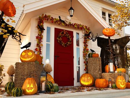 Halloween versierd huis met pompoenen. 3D-weergave