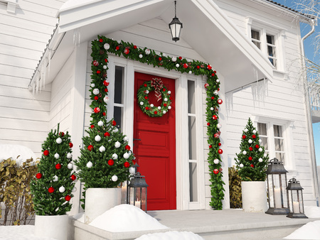christmas decorated porch with little trees and lanterns. 3d rendering 版權商用圖片 - 89090100