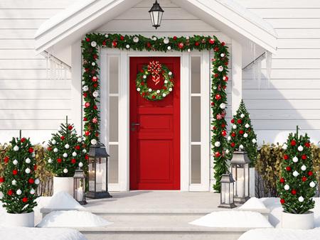 Boże Narodzenie urządzone ganek z małymi drzewami i latarniami. 3d rendering