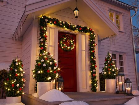 Noël décoré porche avec de petits arbres et des rubans. rendu 3d Banque d'images - 89084147