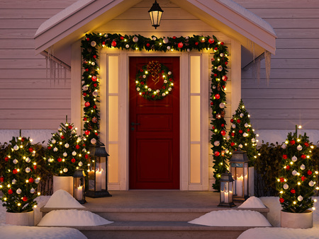 3d rendering. christmas decorated porch with  trees and lanterns. 스톡 콘텐츠