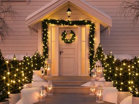 wigilijny ganek z małymi drzewami i latarniami. 3d rendering