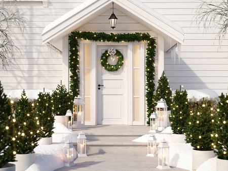 christmas decorated porch Фото со стока - 89673653