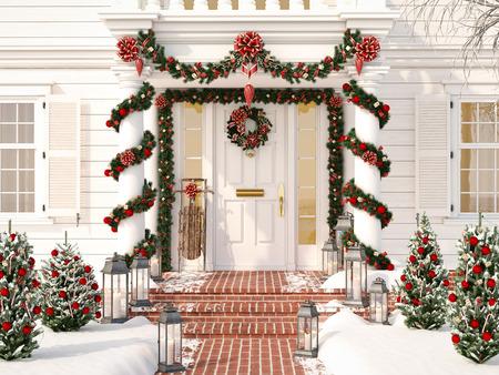 Natal decorada varanda com pequenas árvores e lanternas. Renderização em 3d Foto de archivo - 89337401