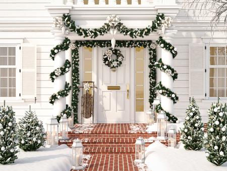 小さな木々やランタンがあるクリスマスの装飾されたポーチ。3d レンダリング 写真素材