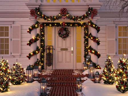 christmas decorated porch with little trees and lanterns. 3d rendering Stok Fotoğraf - 92350589