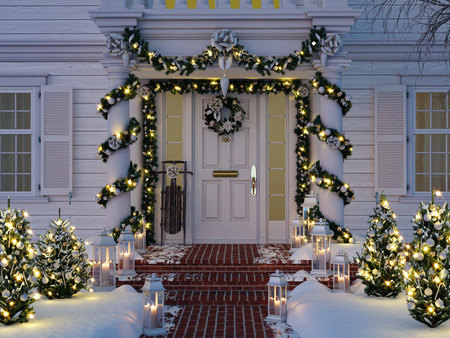christmas decorated porch with little trees and lanterns. 3d rendering