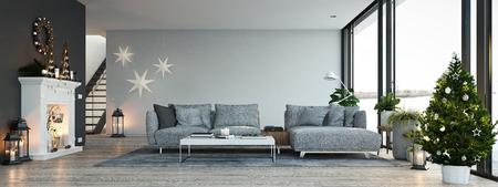 3D-Rendering. Haus mit Kamin in moderner Wohnung. Weihnachtsdekoration.
