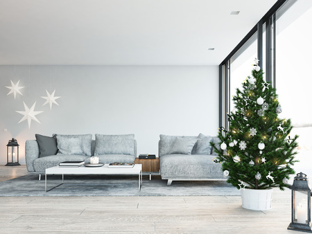 3d rendering. home with christmastree in modern apartment. christmas decoration.