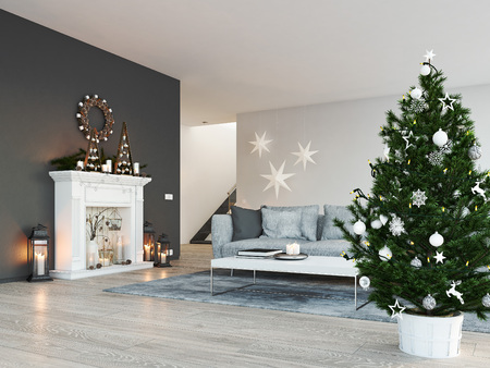3d rendering. home with fireplace in modern apartment. christmas decoration. Imagens - 89944506