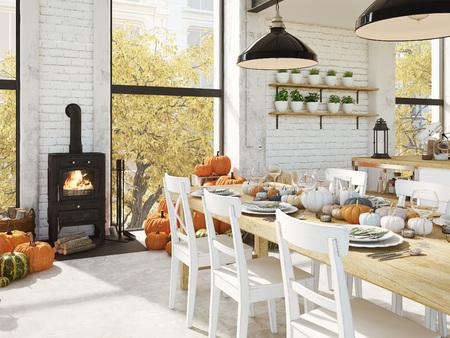 Noordse keuken in een appartement. 3D-rendering. Thanksgiving-concept.