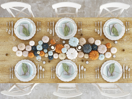 top view nordic kitchen in an apartment. 3D rendering. thanksgiving concept.