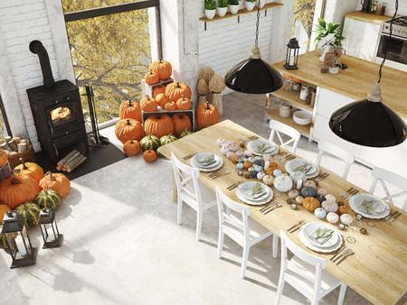 Vista dall'alto cucina nordica in un appartamento. Rendering 3D. concetto di ringraziamento. Archivio Fotografico - 90091401