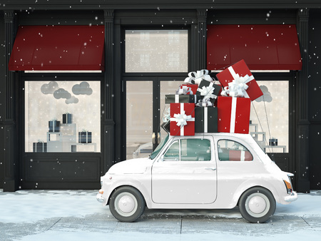 driving with black and red gifts during black friday. 3d rendering Banco de Imagens