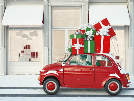 driving with black and red gifts before christmas. 3d rendering Stock Photo