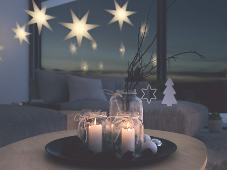 3d rendering. home with christmastree in modern apartment. 2. advent.