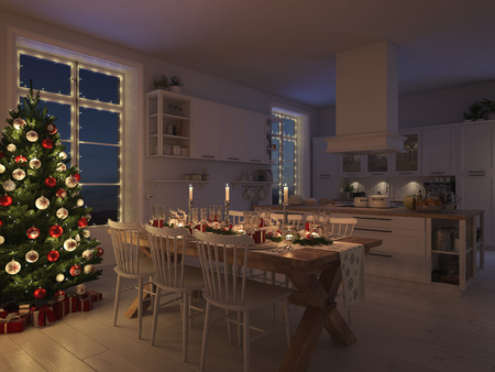 Nordic kitchen with Christmas decoration at night. 3d rendering