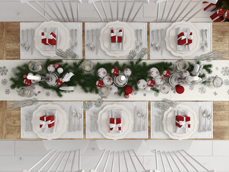top view of a christmas decorated table by day. 3d rendering 스톡 콘텐츠