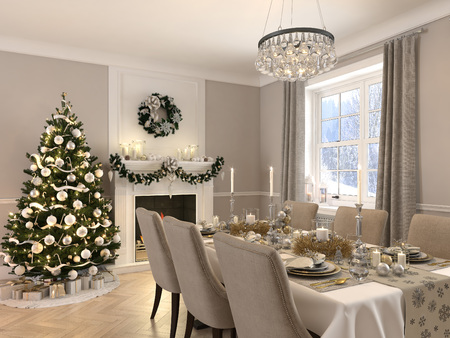 luxury dining room with christmas decoration by day. 3d rendering Stock fotó