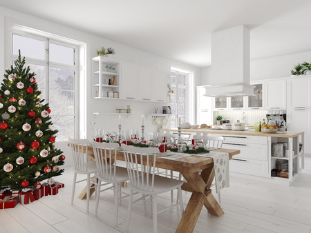 nordic kitchen with christmas decoration by day. 3d rendering