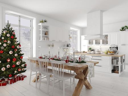 kuchnia północna z dekoracjami świątecznymi w dzień. Renderowania 3d