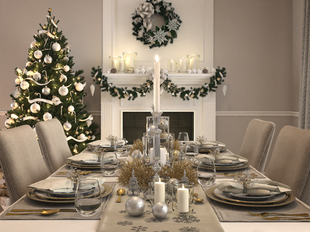 luxury dining room with christmas decoration by day. 3d rendering Stock Photo