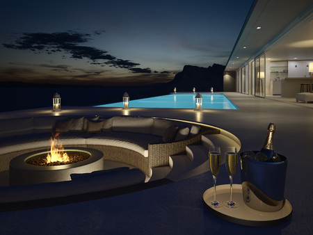 3d rendering of pool villa with champagne. new years eve Banco de Imagens