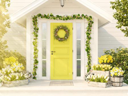 봄 장식 된 현관 꽃을 많이합니다. 3 차원 렌더링 스톡 콘텐츠