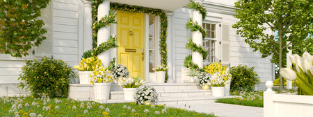 spring decorated porch with a lot of flowers. 3d rendering