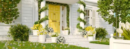 Porche décoré de printemps avec beaucoup de fleurs. Rendu 3D Banque d'images - 92880125
