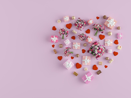 Shape of a heart with lots of presents. mothers day. 3d rendering