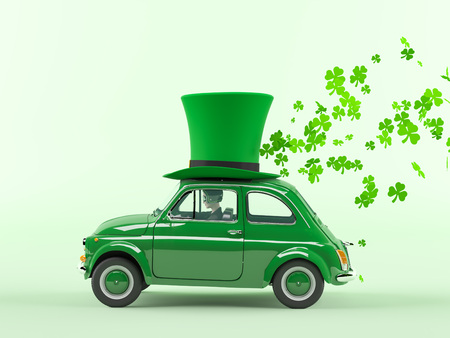 st. patricks day car driving with flying shamrocks. 3d rendering Banque d'images