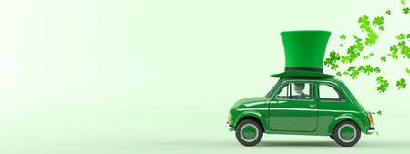 st. patricks dag auto rijden met vliegende klavers. 3D-rendering Stockfoto