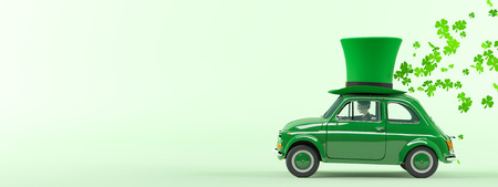st. patricks day car driving with flying shamrocks. 3d rendering Imagens