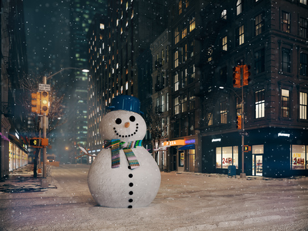 blizzard in new york city. funny snowman. 3d rendering Stock Photo