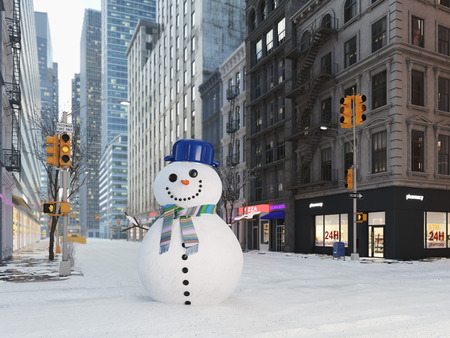 Blizzard in New York city. Build snowman. 3d rendering