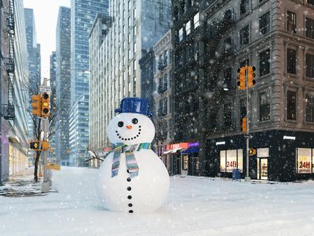 ニューヨーク市で吹雪。雪だるまを作る。3D レンダリング